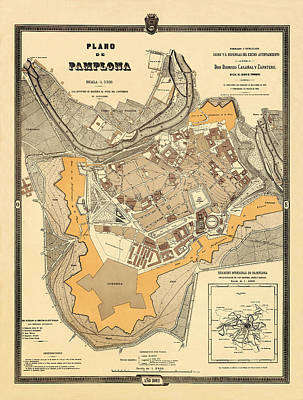 Photograph - Map Of Pamplona 1882 by Andrew Fare