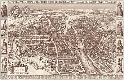 Drawing - Map Of Paris 1618 by Mountain Dreams
