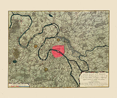 Photograph - Map Of Paris 1794 by Andrew Fare