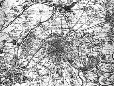 Drawing - Map Of Paris And The Outskirts In 1840 by French School
