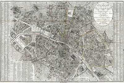 Old Map Painting - Map Of Paris, France - 1823 by Pablo Romero