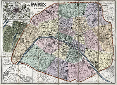 Old Map Painting - Map Of Paris, France - 1878 by Pablo Romero