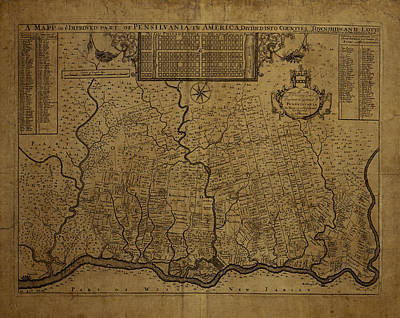 Map Of Pennsylvania Photograph - Map Of Pennsylvania 1690 by Andrew Fare