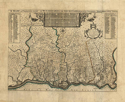 Map Of Pennsylvania Photograph - Map Of Pennsylvania 1730 by Andrew Fare