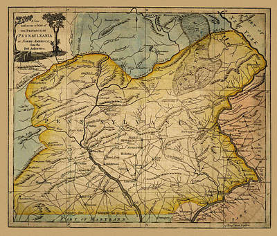 Map Of Pennsylvania Photograph - Map Of Pennsylvania 1780 by Andrew Fare