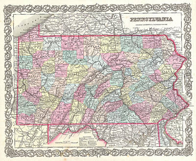 Drawing - Map Of Pennsylvania by Joseph Hutchins Colton