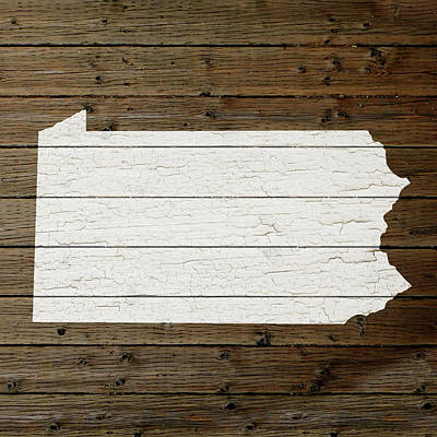 Map Of Pennsylvania State Outline White Distressed Paint On Reclaimed Wood Planks Art Print