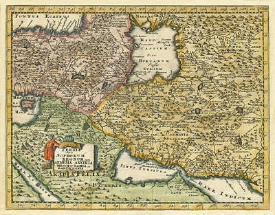Photograph - Map Of Persia 1697 by Andrew Fare
