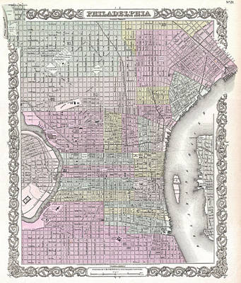 Drawing - Map Of Philadelphia. Pennsylvania by Joseph Hutchins Colton