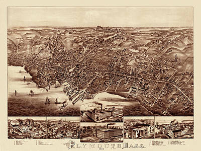 Plymouth Massachusetts Photograph - Map Of Plymouth 1882 by Andrew Fare