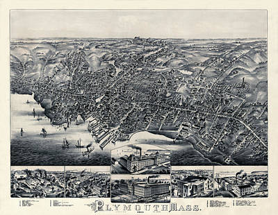 Plymouth Massachusetts Photograph - Map Of Plymouth 1882b by Andrew Fare