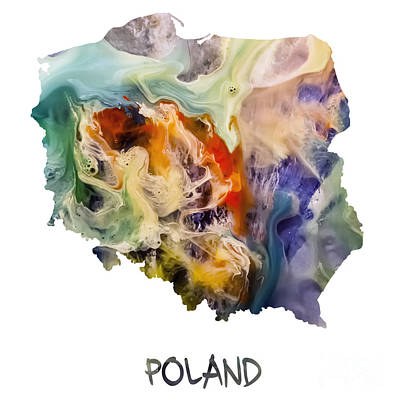 Warsaw Painting - Map Of Poland Original Art by Justyna JBJart