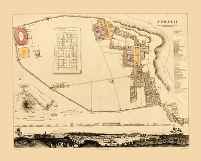 Photograph - Map Of Pompeii 1832 by Andrew Fare