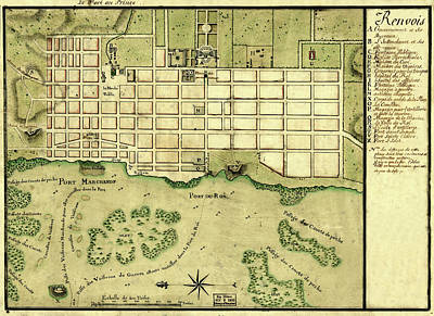 Photograph - Map Of Port Au Prince 1750 by Andrew Fare