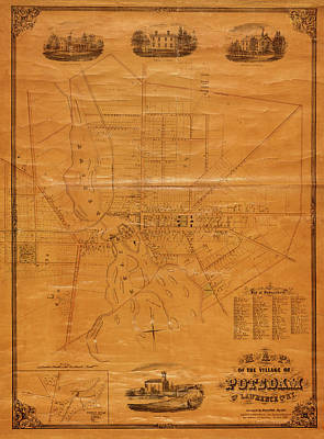 Photograph - Map Of Potsdam 1853 by Andrew Fare
