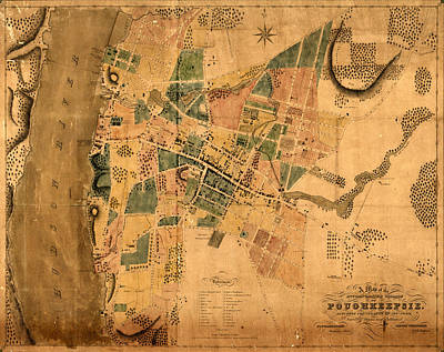 Poughkeepsie Photograph - Map Of Poughkeepsie 1834 by Andrew Fare