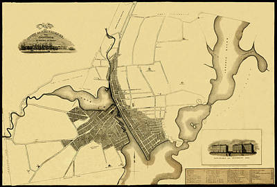 Photograph - Map Of Providence 1823 by Andrew Fare
