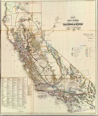 Painting - Map Of Public Surveys In California And Nevada To Accompany Report Of The Commissioner by R Muirhead Art