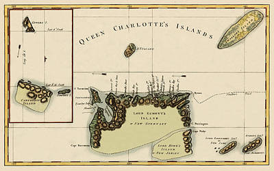 Photograph - Map Of Queen Charlotte Islands 1776 by Andrew Fare
