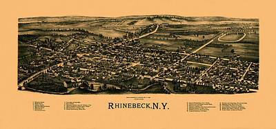 Photograph - Map Of Rhinebeck 1890 by Andrew Fare