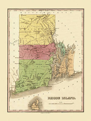 Photograph - Map Of Rhode Island 1829 by Andrew Fare