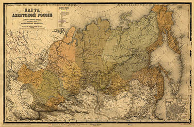 Photograph - Map Of Russia 1868 by Andrew Fare