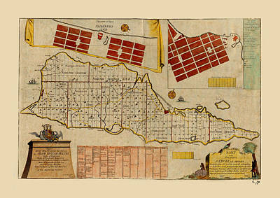 Photograph - Map Of Saint Croix 1755 by Andrew Fare