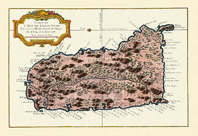 Photograph - Map Of Saint Lucia 1758 by Andrew Fare