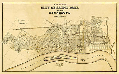 Minneapolis-st. Paul Photograph - Map Of Saint Paul 1852 by Andrew Fare