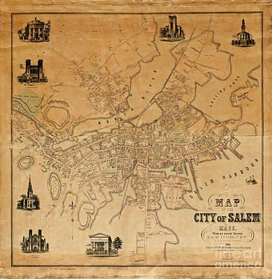 Oregon State Drawing - Map Of Salem 1851 by Doc Braham