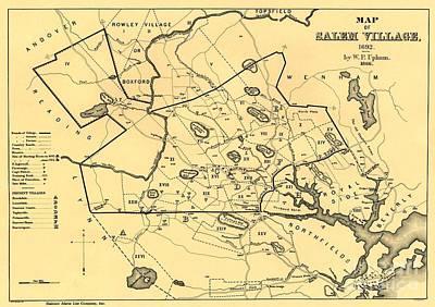 Drawing - Map Of Salem Village 1692 by Lita Kelley