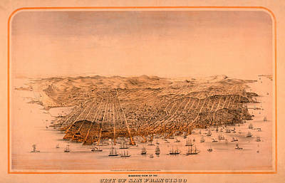 World War Two Production Posters - Map Of San Francisco 1868 by Andrew Fare