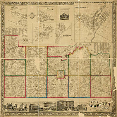 Photograph - Map Of Sandusky 1860 by Andrew Fare