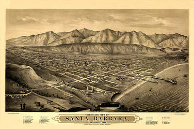 Of Santa Barbara Photograph - Map Of Santa Barbara 1877 by Andrew Fare