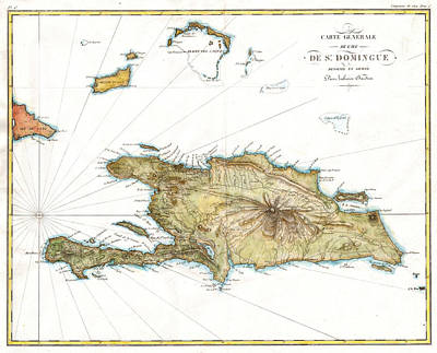 Antique Map Drawing - Map Of Santo Domingo Or Hispaniola West Indies by Celestial Images