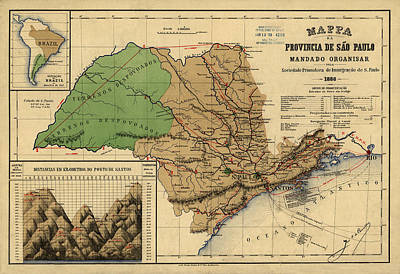 Photograph - Map Of Sao Paulo 1886 by Andrew Fare
