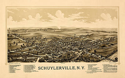 Photograph - Map Of Schuylerville 1889 by Andrew Fare