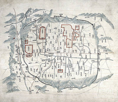 Old Map Painting - Map Of Seoul - 1800 by Pablo Romero