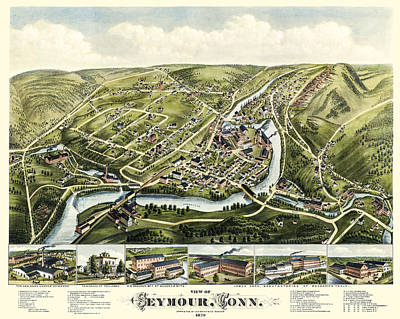 Photograph - Map Of Seymour Connecticut 1879 by Phil Cardamone