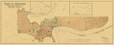 Photograph - Map Of Shanghai 1904 by Andrew Fare