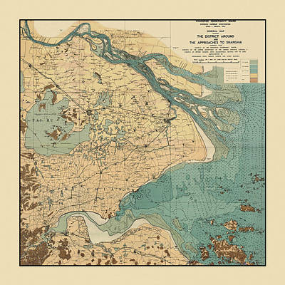Photograph - Map Of Shanghai 1920 by Andrew Fare