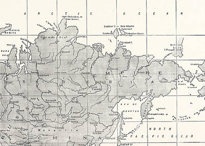 Arctic Drawing - Map Of Siberia And Part Of China by American School