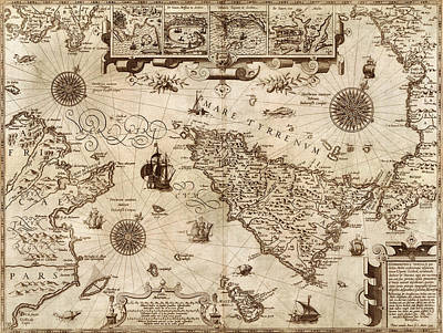 Vintage Map Photograph - Map Of Sicily 1594 by Andrew Fare