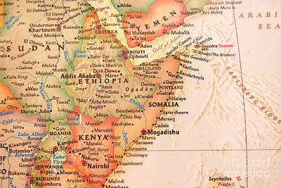 Photograph - Map Of Somalia And Ethiopia by Jill Lang