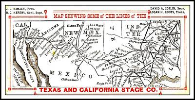 Drawing - Map Of Some Of The Lines Of The Texas And California Stage Company Circa 1880s by Peter Gumaer Ogden