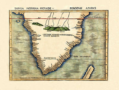 Photograph - Map Of South Africa 1513 by Andrew Fare