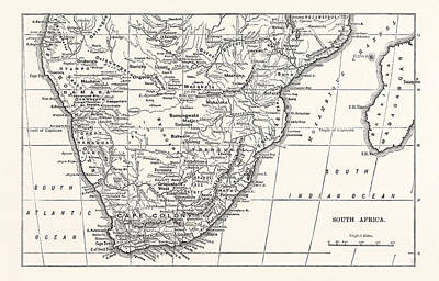 Southern Africa Drawing - Map Of South Africa by English School