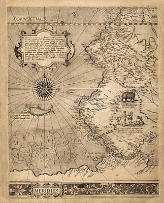 Photograph - Map Of South America 1569 by Andrew Fare