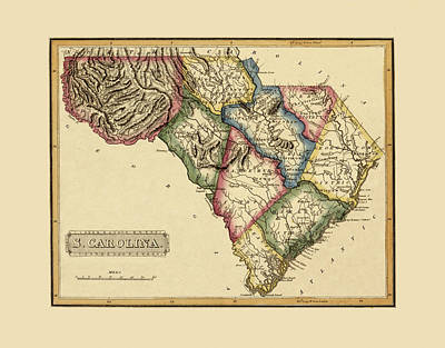 Photograph - Map Of South Carolina 1817 by Andrew Fare