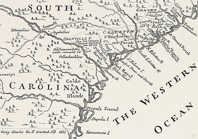 The South Drawing - Map Of South Carolina by American School